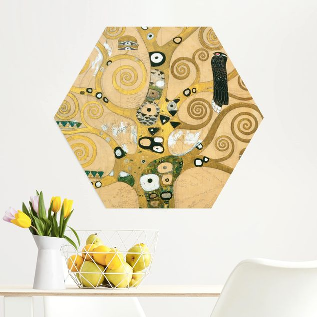 Hexagon Bild Alu-Dibond - Gustav Klimt - Der Lebensbaum