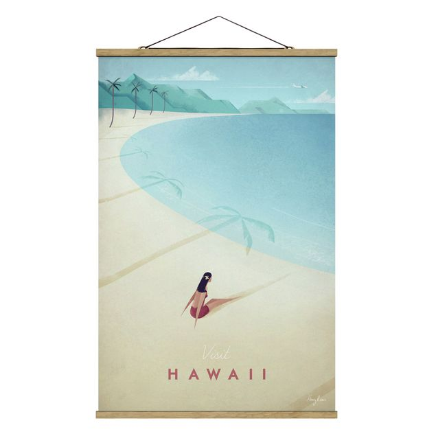 Stoffbild mit Posterleisten - Reiseposter - Hawaii - Hochformat 2:3