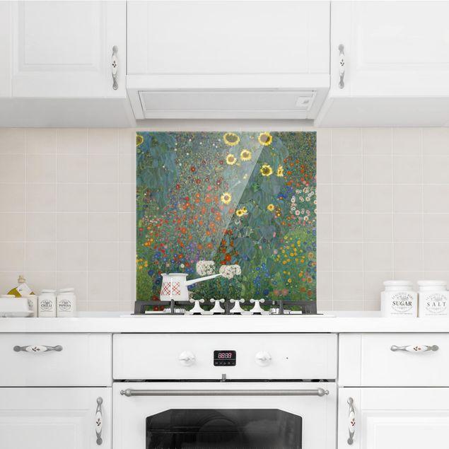 Glas Spritzschutz - Gustav Klimt - Garten Sonnenblumen - Quadrat - 1:1