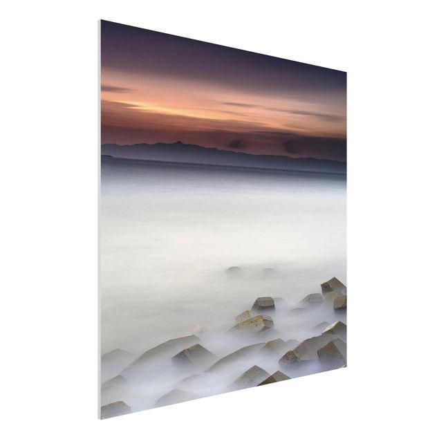 Forex Fine Art Print - Sonnenuntergang im Nebel - Quadrat 1:1
