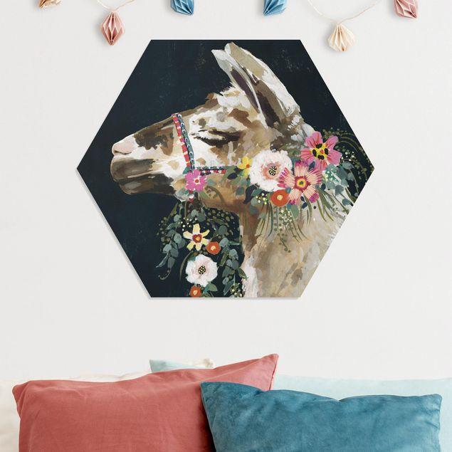 Hexagon Bild Forex - Lama mit Blumenschmuck II