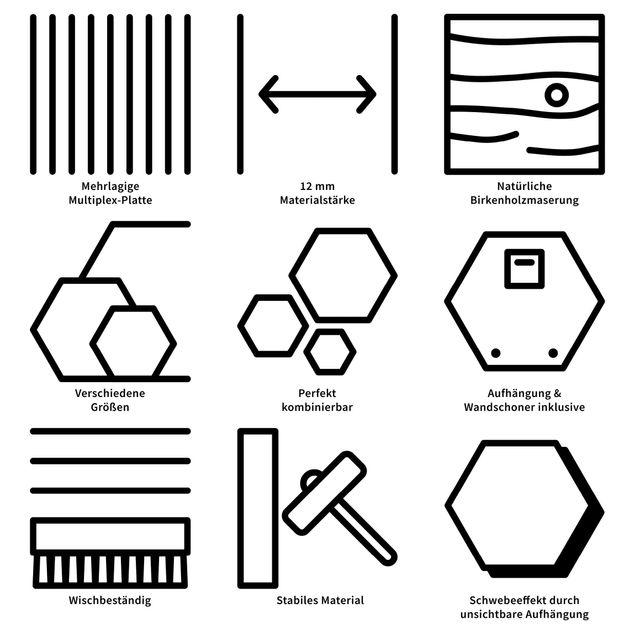 Hexagon Bild Holz - Paul Klee - Kiefer
