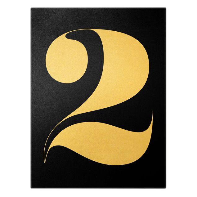 Leinwandbild Gold - Antiqua Zahl 2 - Hochformat 3:4