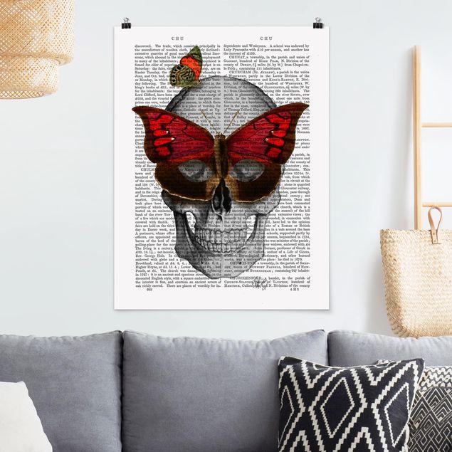 Poster - Grusellektüre - Schmetterlingsmaske - Hochformat 3:4