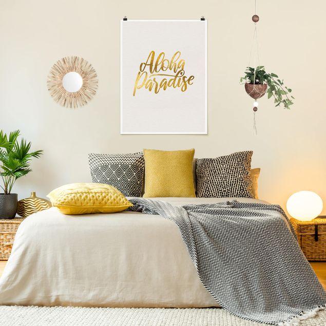 Poster - Gold - Aloha Paradise - Hochformat 4:3