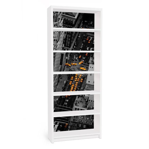 Möbelfolie für IKEA Billy Regal - Klebefolie Taxilichter Manhattan