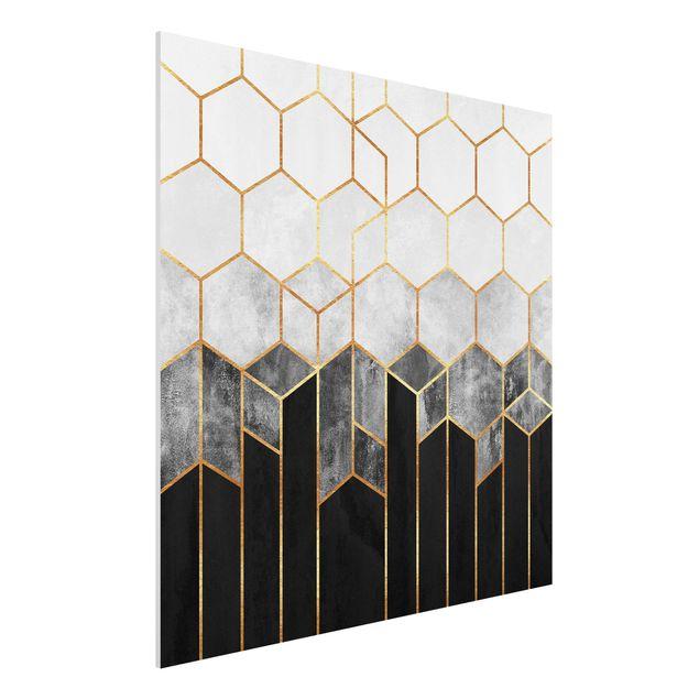Forex Fine Art Print - Goldene Sechsecke Schwarz Weiß - Quadrat 1:1