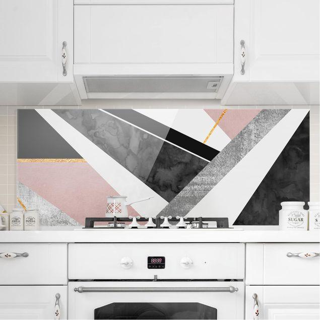 Spritzschutz Glas - Schwarz Weiß Geometrie mit Gold - Panorama