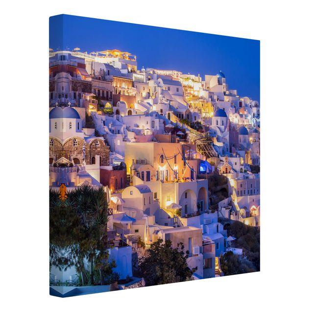 Leinwandbild - Santorini at night - Quadrat 1:1