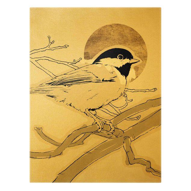 Leinwandbild Gold - Vogel vor goldener Sonne I - Hochformat 3:4