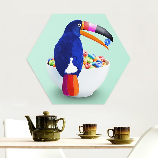 Hexagon Bild Alu-Dibond - Jonas Loose - Frühstück mit Tukan