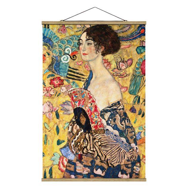 Stoffbild mit Posterleisten - Gustav Klimt - Dame mit Fächer - Hochformat 2:3