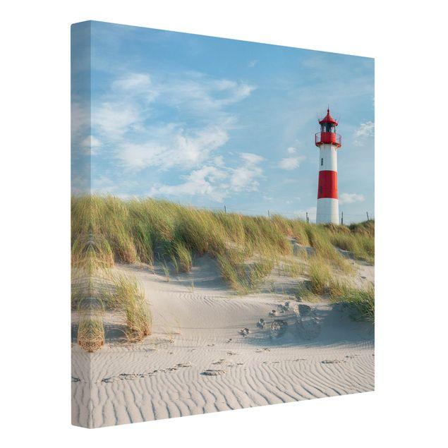 Leinwandbild - Leuchtturm an der Nordsee - Quadrat 1:1