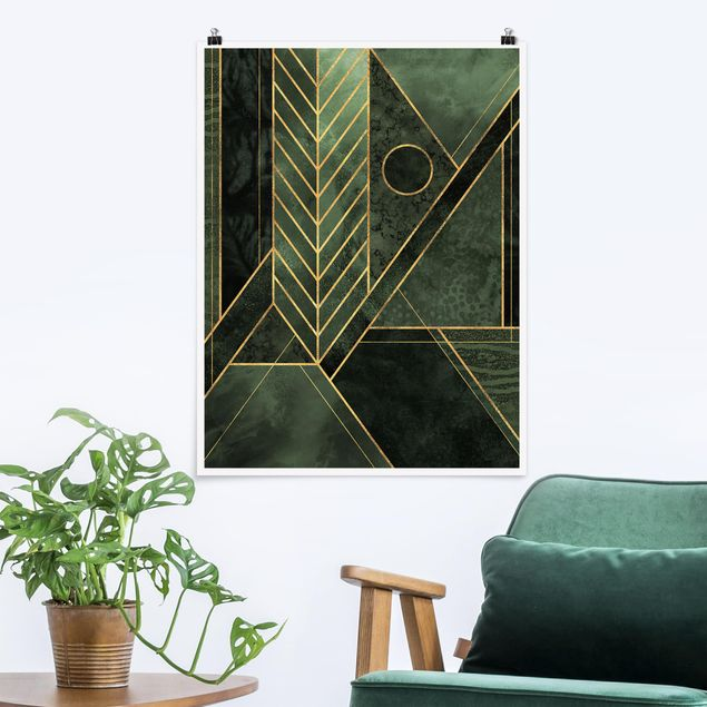 Poster - Geometrische Formen Smaragd Gold - Hochformat 4:3
