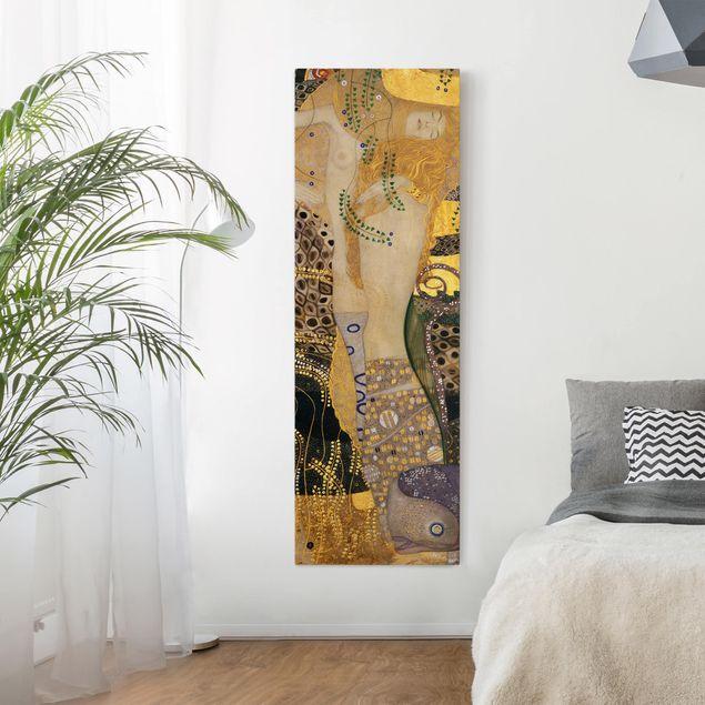 Leinwandbild - Gustav Klimt - Wasserschlangen I - Panorama Hochformat 3:1