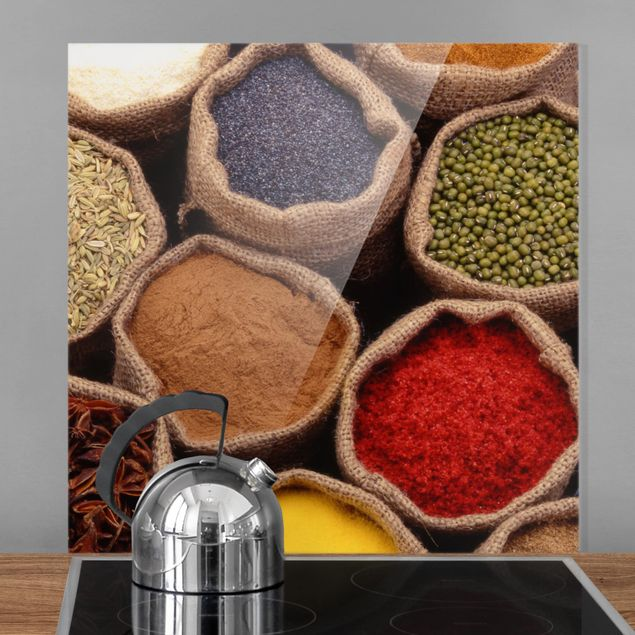 Glas Spritzschutz - Colourful Spices - Quadrat - 1:1