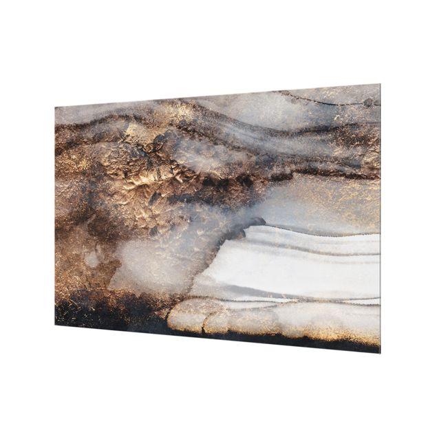 Spritzschutz Glas - Goldener Marmor gemalt - Querformat - 3:2