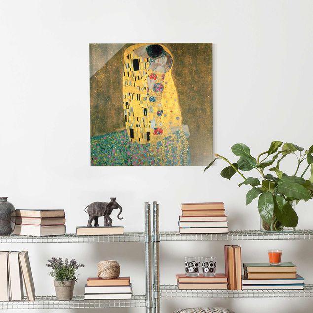 Glasbild - Gustav Klimt - Der Kuß - Quadrat 1:1