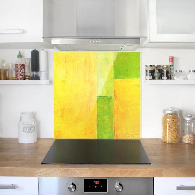 Glas Spritzschutz - Petra Schüßler - Frühlings Komposition 03 - Quadrat - 1:1