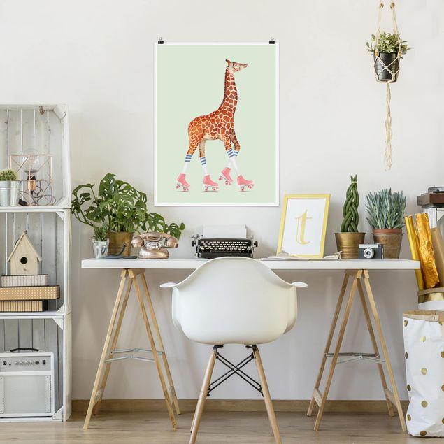 Poster - Jonas Loose - Giraffe mit Rollschuhen - Hochformat 3:4