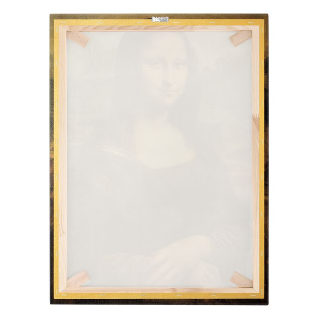 Leinwandbild Gold - Leonardo da Vinci - Mona Lisa - Hochformat 3:4