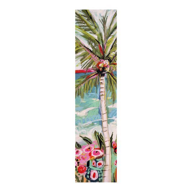 Schiebegardinen Set - Palme mit pinken Blumen II - Flächenvorhang