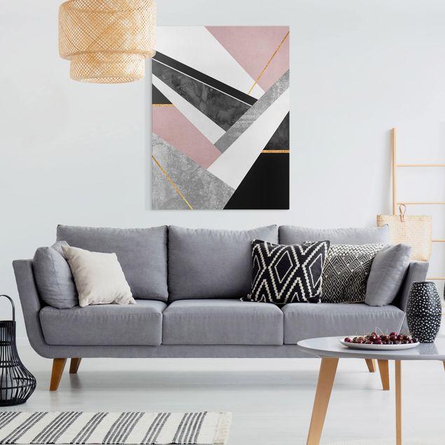 Leinwandbild - Schwarz Weiß Geometrie mit Gold - Hochformat 4:3