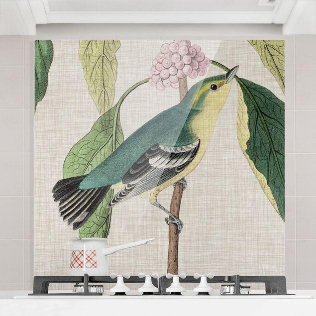 Glas Spritzschutz - Vogel auf Leinen Rosa I - Quadrat - 1:1