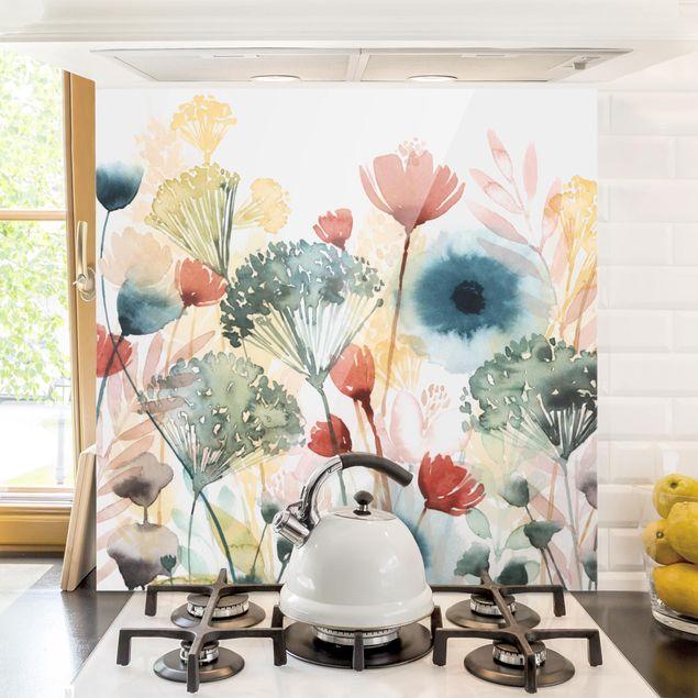 Glas Spritzschutz - Wildblumen im Sommer I - Quadrat - 1:1