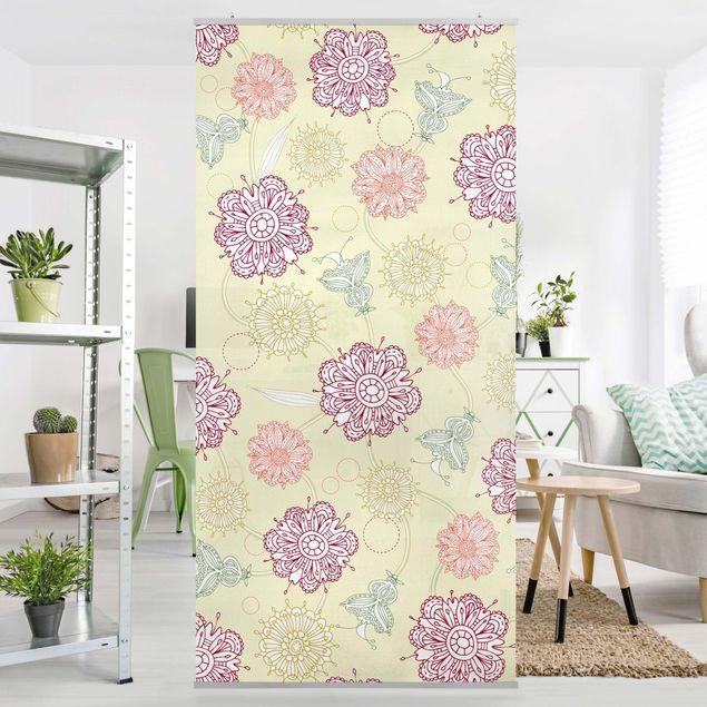 Raumteiler - Ornamentblüten 250x120cm
