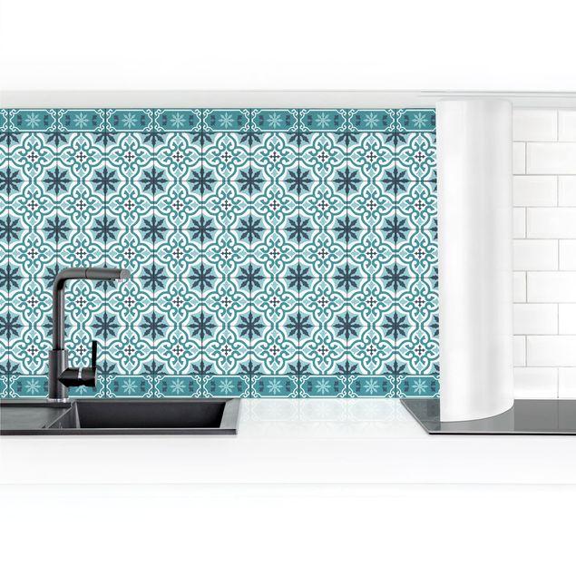 Küchenrückwand - Geometrischer Fliesenmix Kreuz Türkis