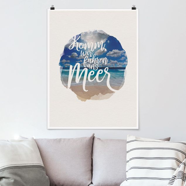 Poster - Wasserfarben - Komm, wir fahren ans Meer - Hochformat 4:3