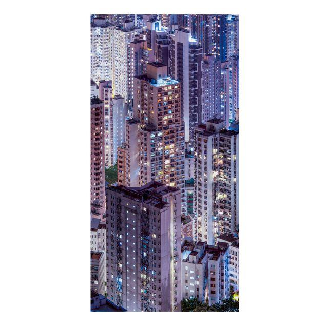 Leinwandbild - Hongkong Lichtermeer - Hochformat 1:2