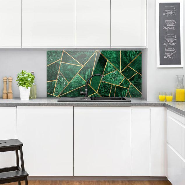 Spritzschutz Glas - Dunkler Smaragd mit Gold - Querformat 1:2