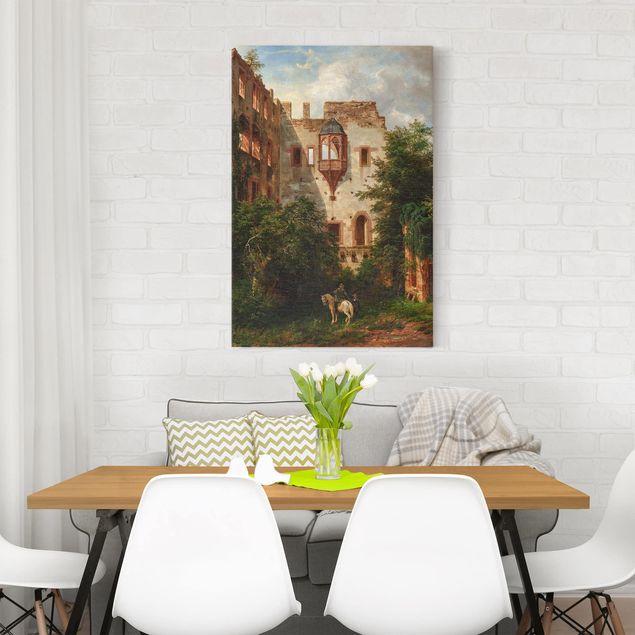 Leinwandbild - Carl Ludwig Fahrbach - Im Hof des Heidelberger Schlosses - Hochformat 3:2