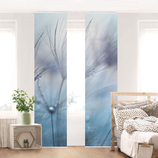 Schiebegardinen Set - Blaue Federn im Regen - Flächenvorhang