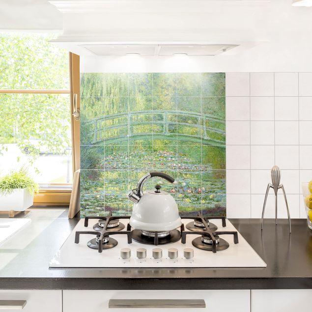 Fliesenbild - Claude Monet - Japanische Brücke - Fliesensticker Set quadratisch