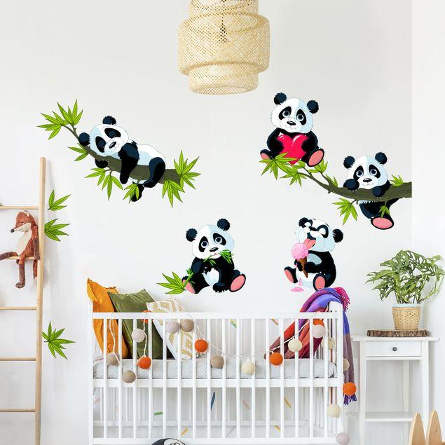 Wandtattoo - Pandabären Set Herz