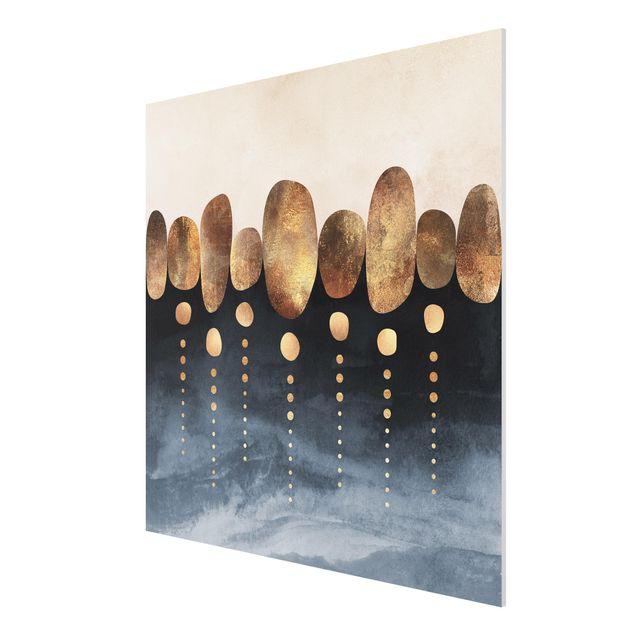 Forex Fine Art Print - Abstrakte goldene Steine - Quadrat 1:1