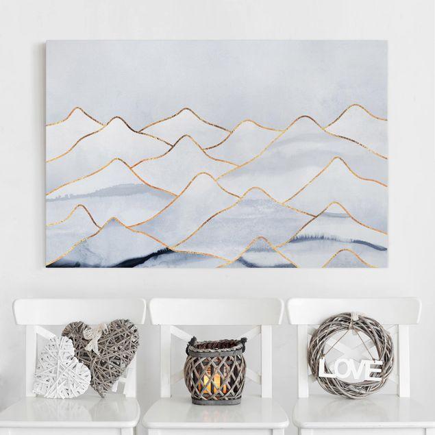 Leinwandbild - Aquarell Berge Weiß Gold - Querformat 2:3