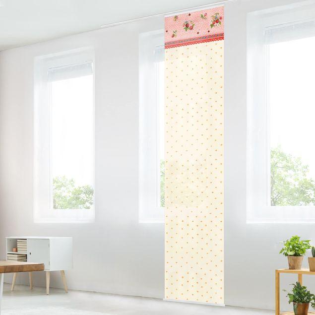 Schiebegardinen Set - Erdbeerinchen Erdbeerfee - Erdbeermuster - Flächenvorhänge
