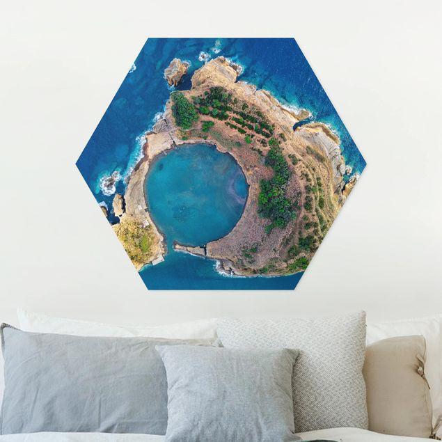 Hexagon Bild Forex - Luftbild - Die Insel Vila Franca do Campo