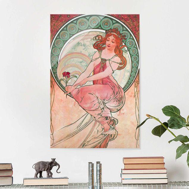 Glasbild - Alfons Mucha - Vier Künste - Die Malerei - Hochformat 3:2