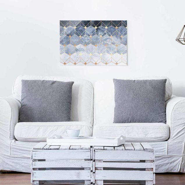 Glasbild - Blaue Geometrie goldenes Art Deco - Querformat 2:3