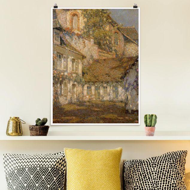 Poster - Henri Le Sidaner - Häuser zu Füßen der Kirche - Hochformat 3:4