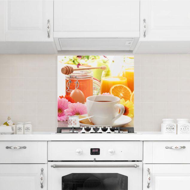 Glas Spritzschutz - Sommerlicher Frühstückstisch - Quadrat - 1:1