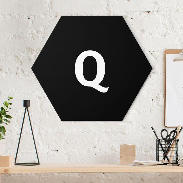 Hexagon Bild Alu-Dibond - Buchstabe Schwarz Q