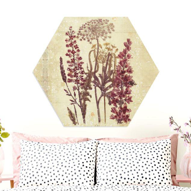 Hexagon Bild Forex - Vintage Leinenoptik Blumen