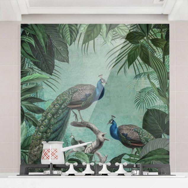 Glas Spritzschutz - Shabby Chic Collage - Edler Pfau - Quadrat - 1:1