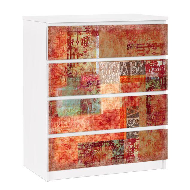 Möbelfolie für IKEA Malm Kommode - selbstklebende Folie Schriftmuster